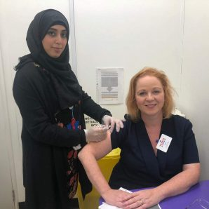 Judith backs flu jab drive at Queensbury pharmacy