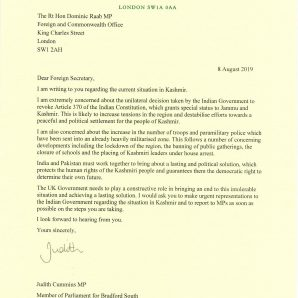 My letter to the Foreign Secretary on Kashmir